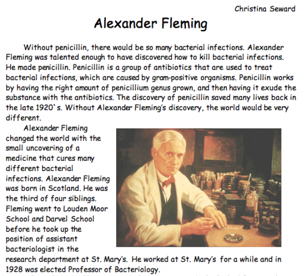 Essay on alexander fleming